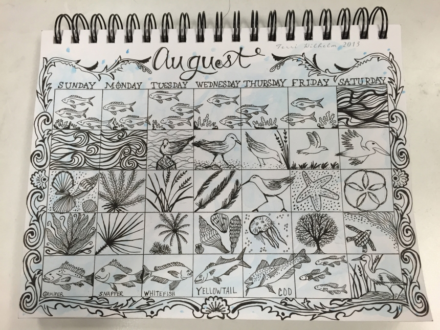 sketchbook page of august doodles