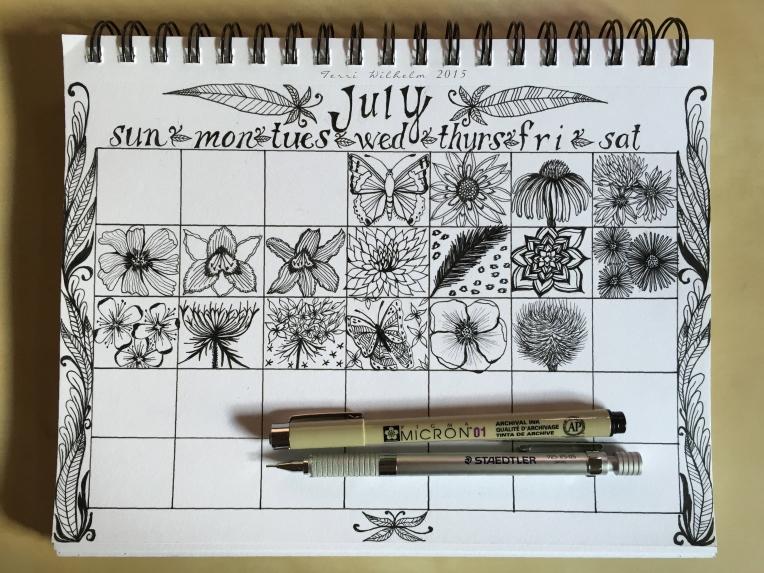 sketchbook page of july doodles so far