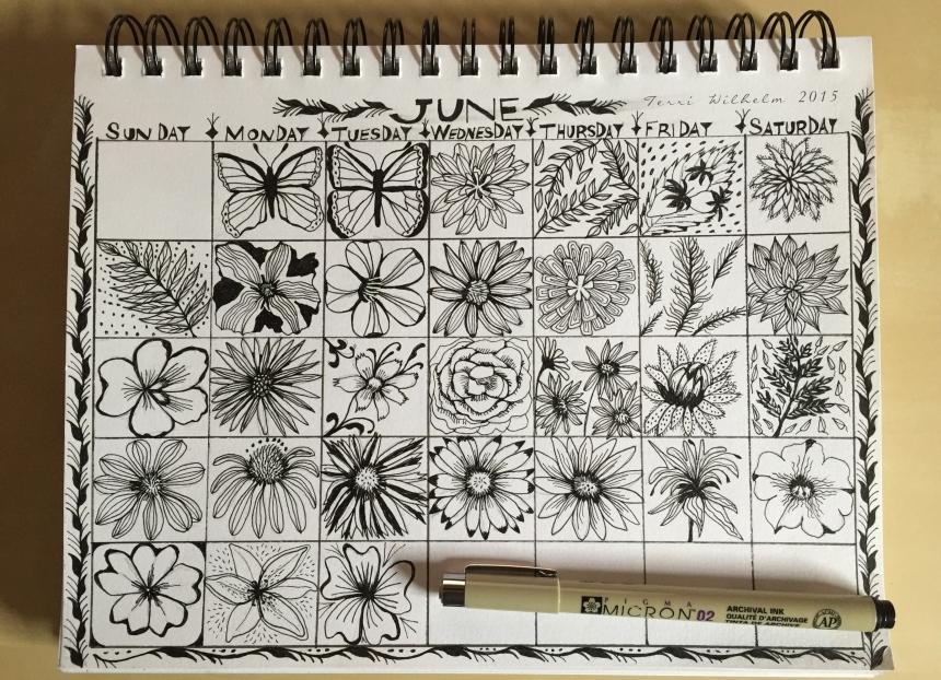 sketchbook page of June doodles
