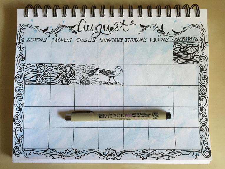 sketchbook page for August doodles