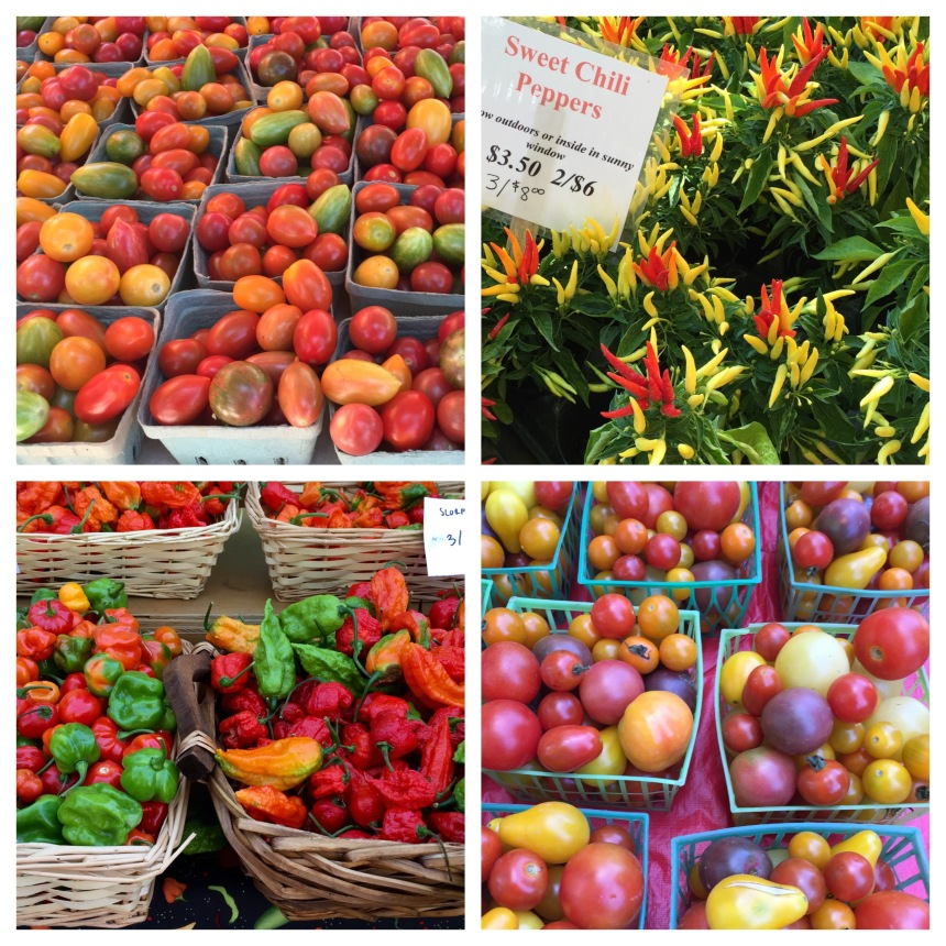 tomatoes and peppers at farmers market