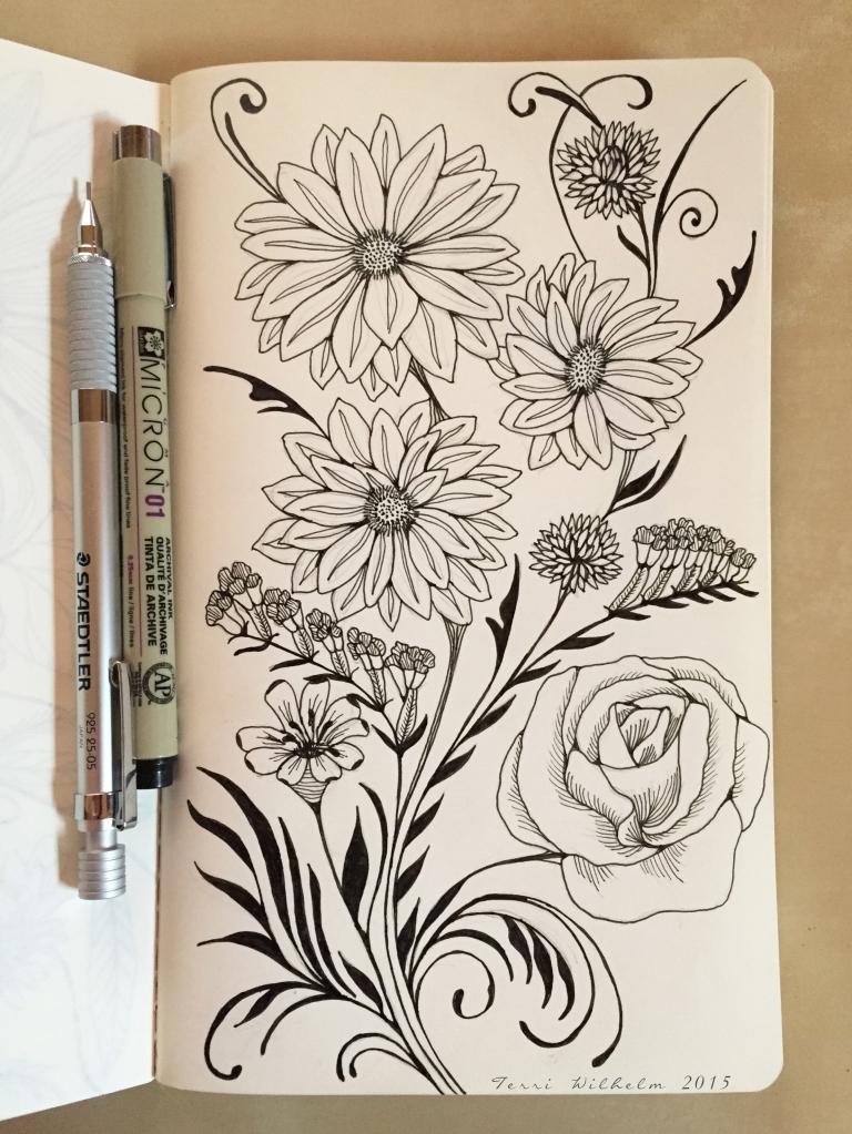sketchbook page fresh cut swirls
