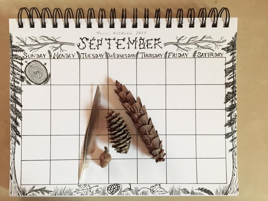 sketchbook page for september doodles
