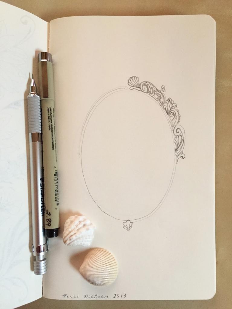 sketchbook page shell frame in progress