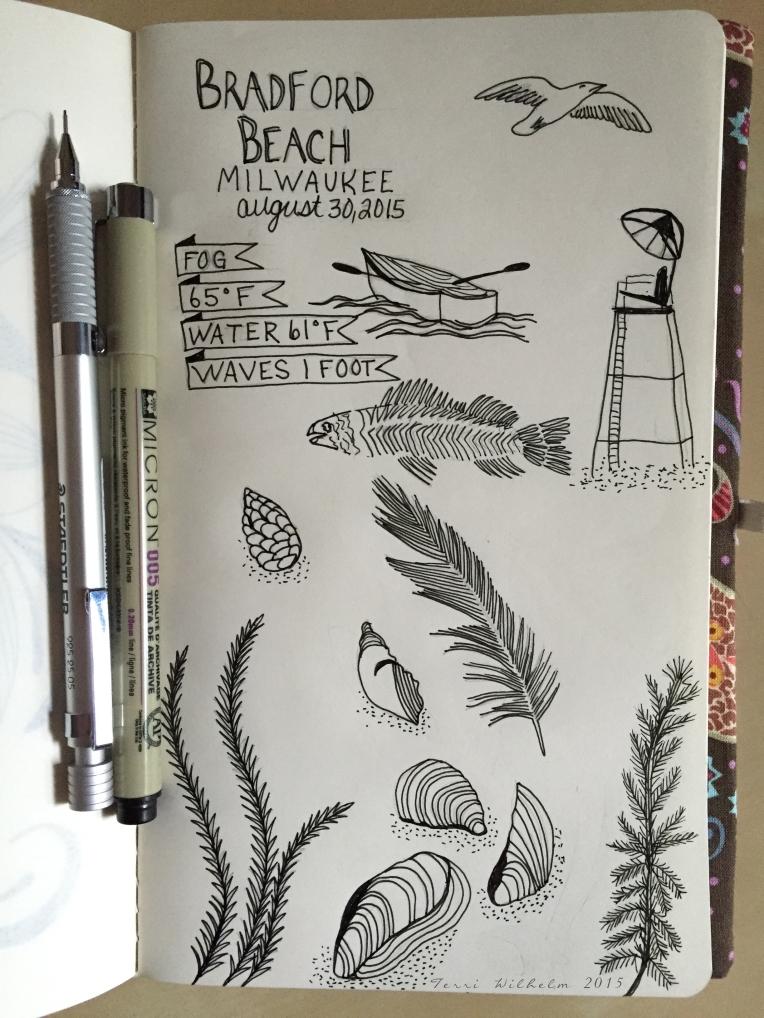 sketchbook page of bradford beach