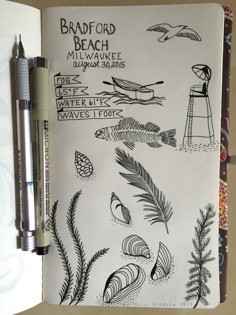 sketchbook page of bradford beach