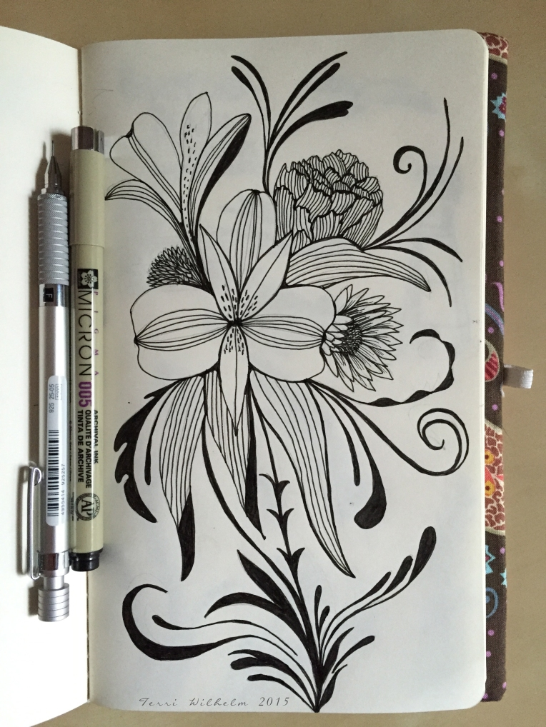 sketchbook page inspired by fresh cut flowers