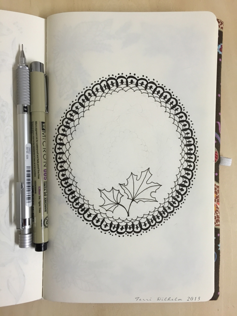 sketchbook lace framing pressed leaves