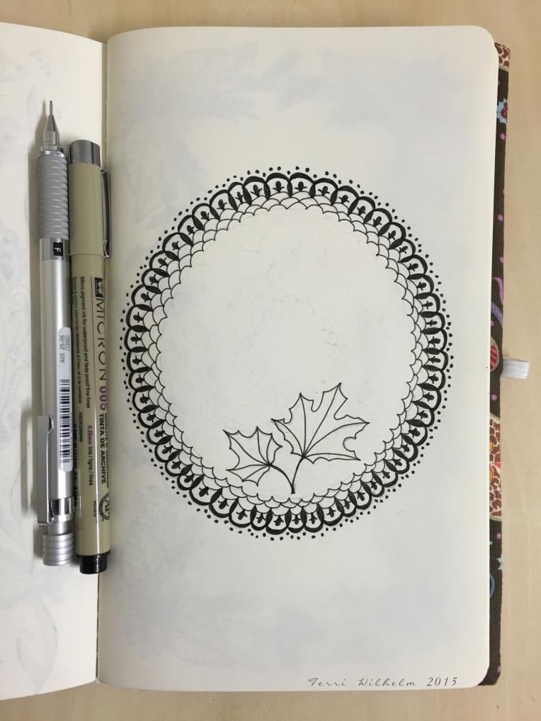 sketchbook lace framing pressed leaves
