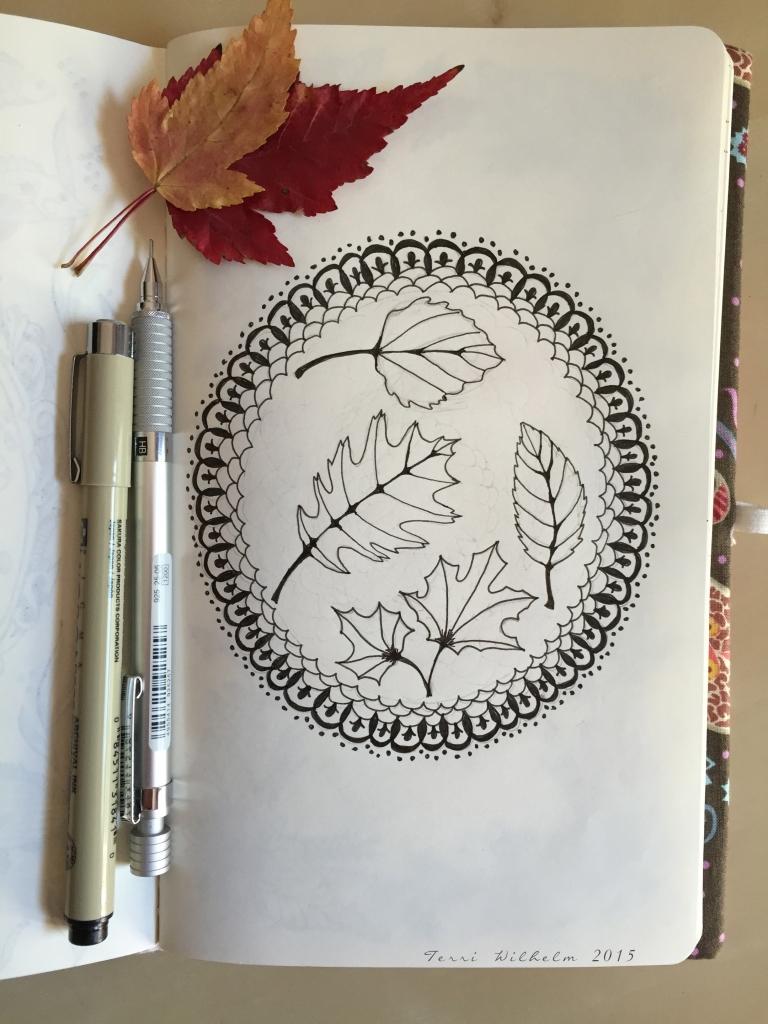 sketchbook page pressed leaves frame