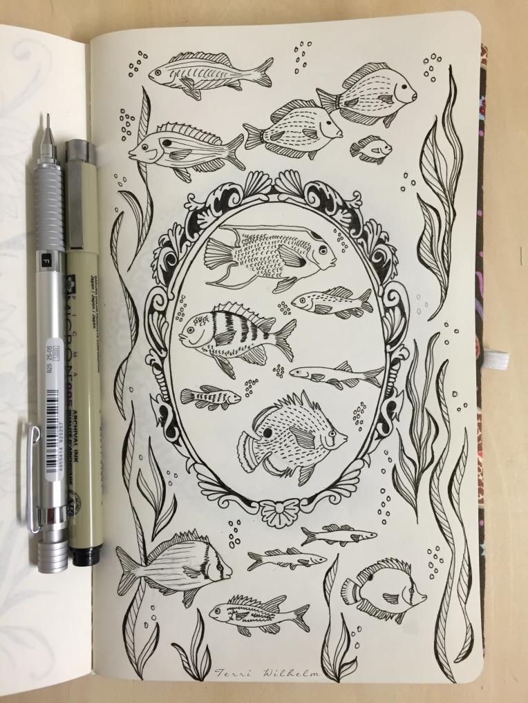 sketchbook page sea inspired frame