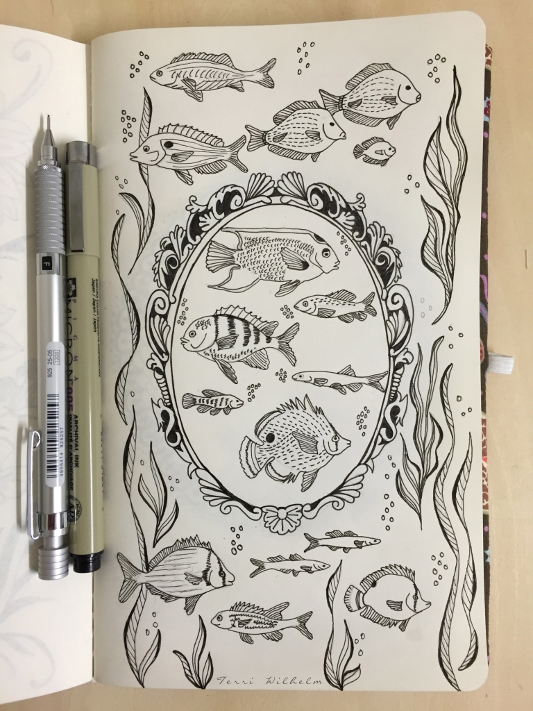 sketchbook page sea inspired frame