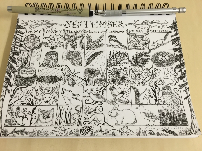sketchbook page for september doodles