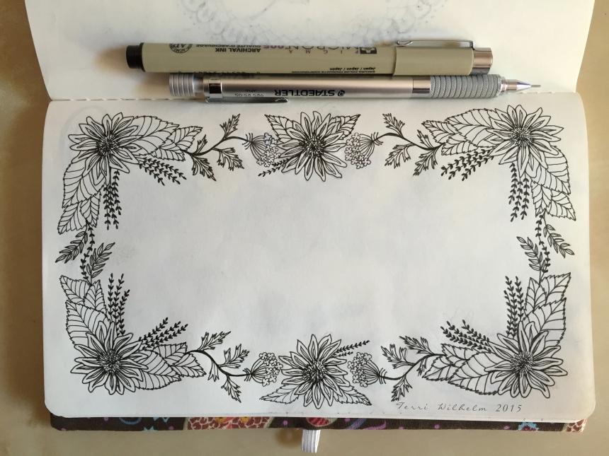 sketchbook page sunflower frame