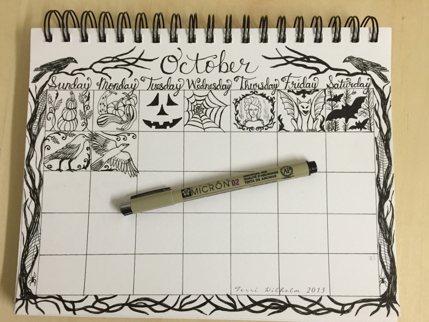 sketchbook page of October doodles