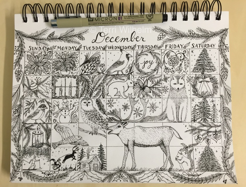 Sketchbook Page of December Doodles