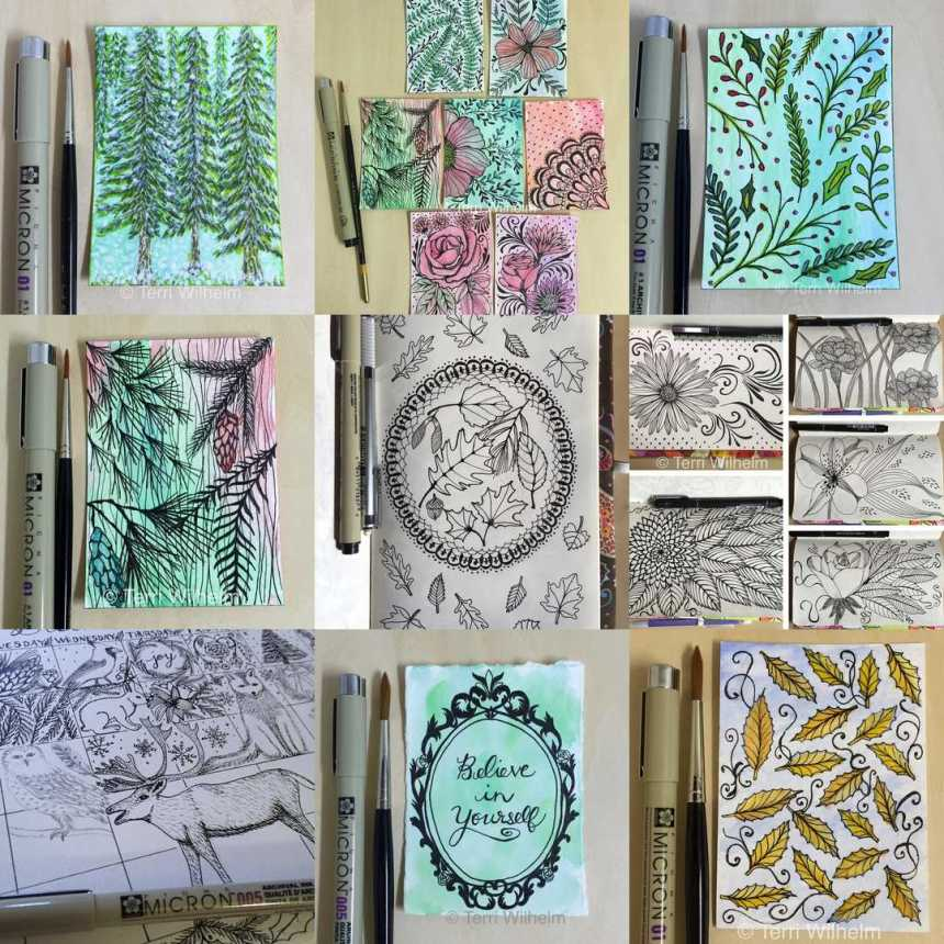 collage of tiny art and sketchbook pages