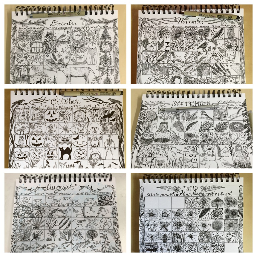 daily doodle December to July