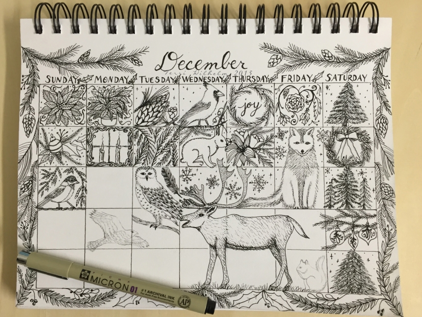 sketchbook page december doodles so far