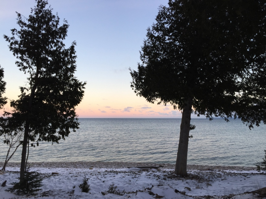 winter sunrise over Lake Michigan