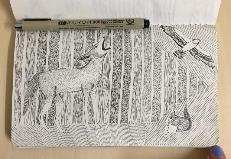 sketchbook page: howling