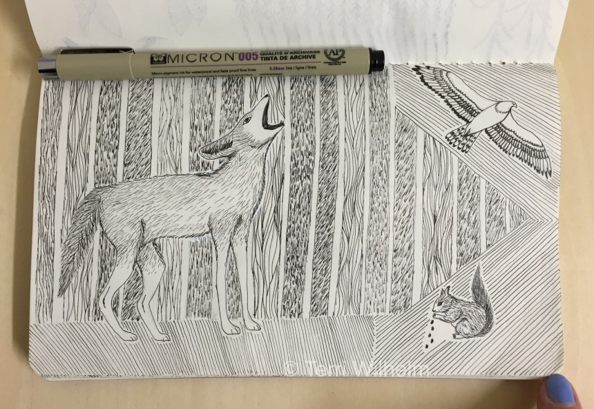 sketchbook page: howling