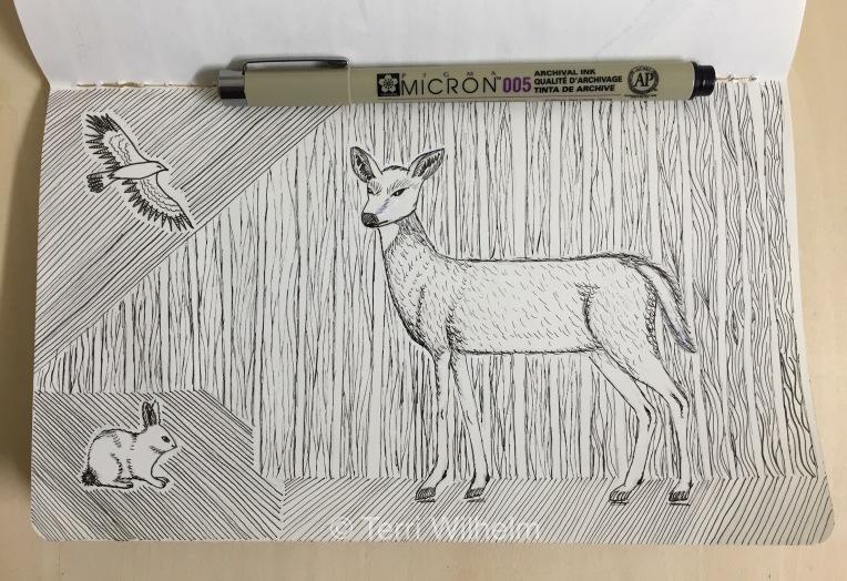 sketchbook page: doe woods