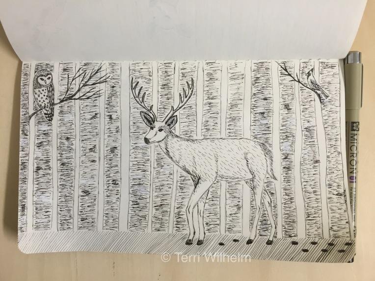 sketchbook page: buck woods