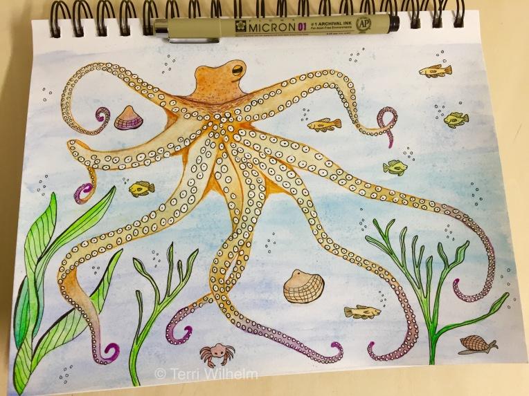 week 10 sketchbook page octopus