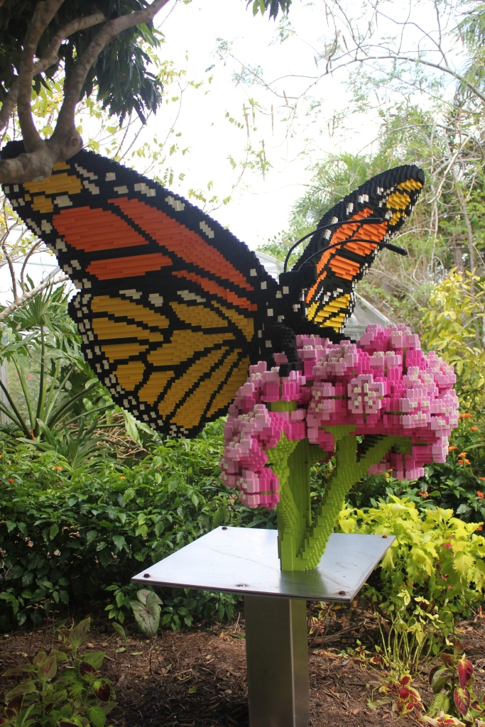 lego butterfly at botanical gardens