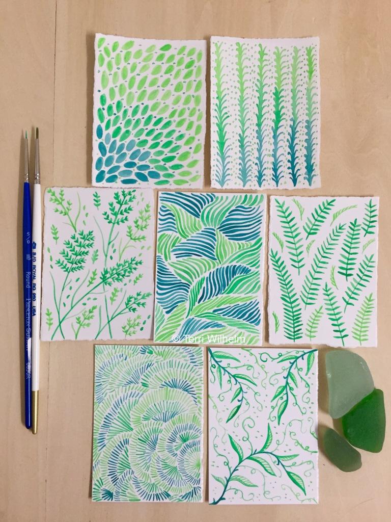 greenery tiny art days 8-14