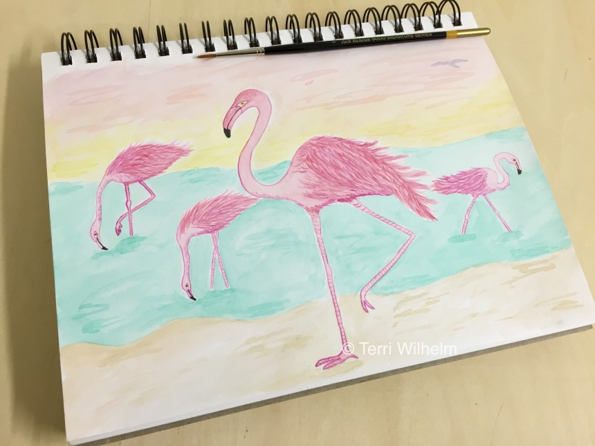 week 18 sketchbook page flamingos