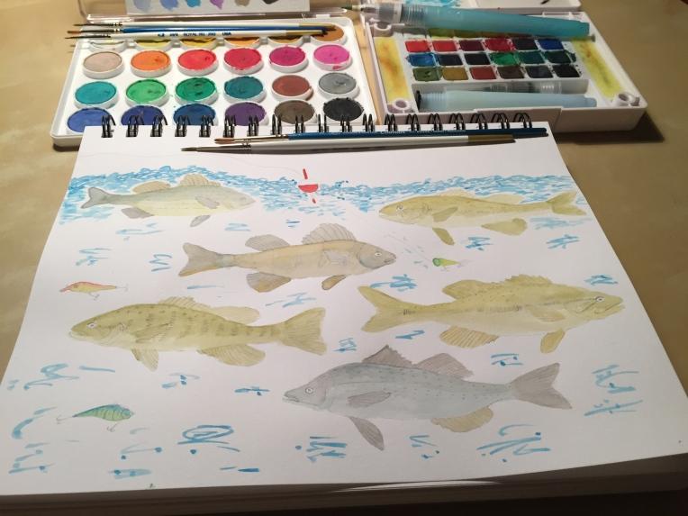 week 32 animal art fish watercolor