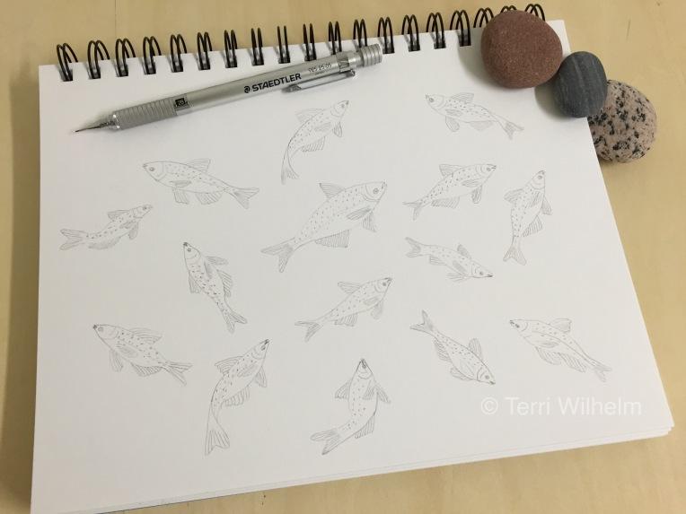 animal art carp jumping sketch