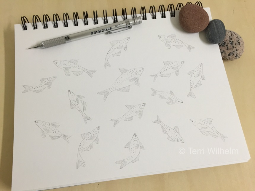animal art carp jumping sketch