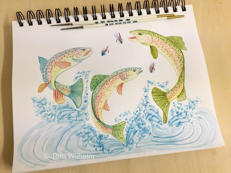 animal art trout fishing