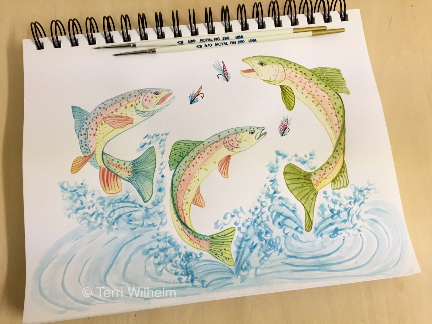 animal art trout fishing