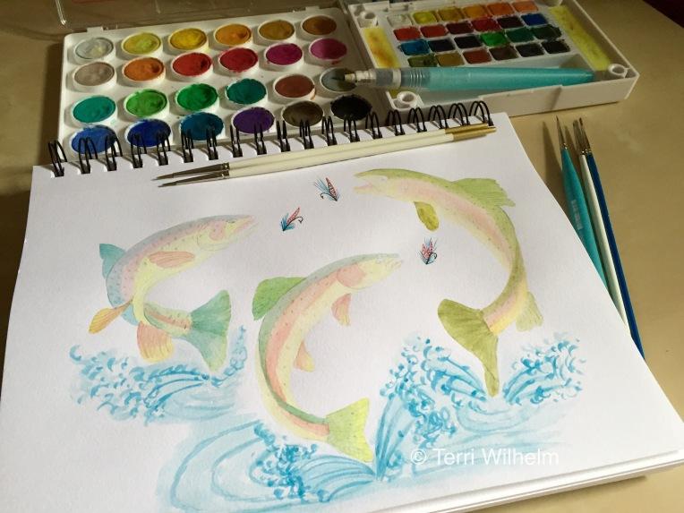 animal art trout fishing in progress