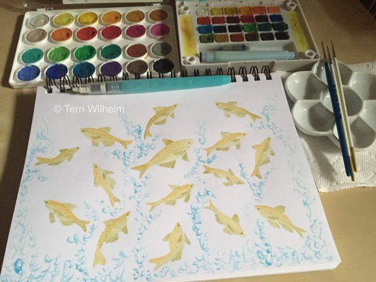 animal art carp jumping background wash