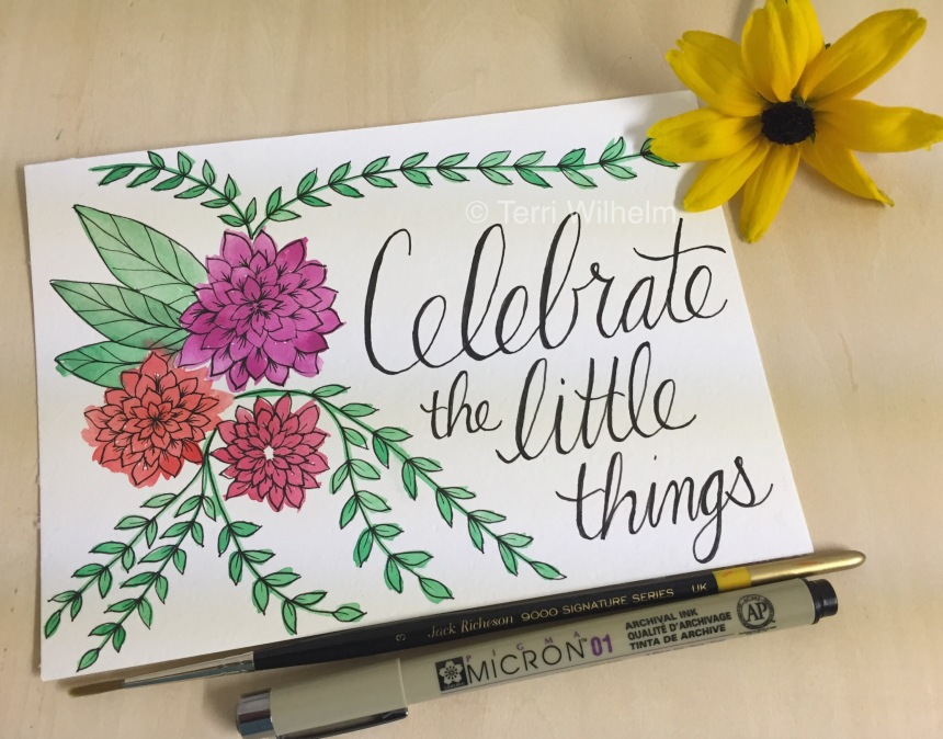 celebrate the little things postcard