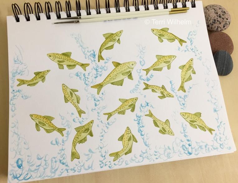 animal art series jumping carp