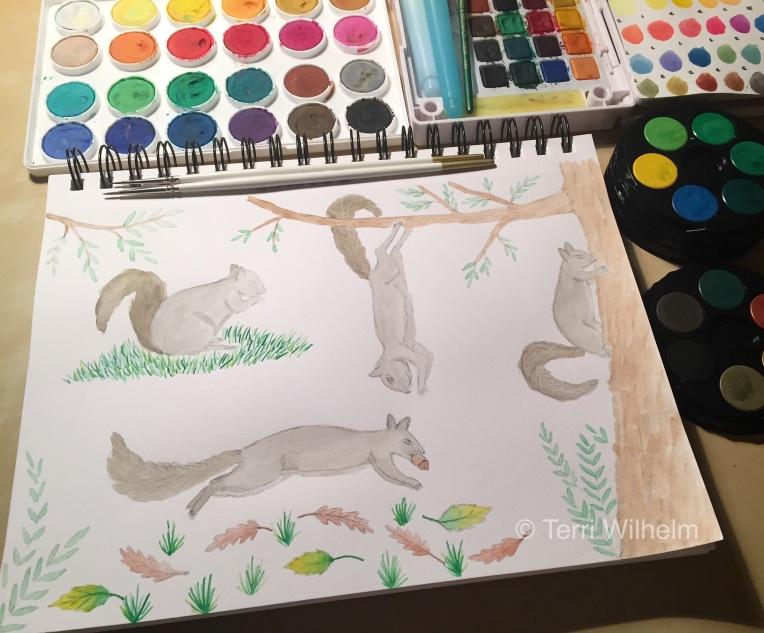 week 35 animal art squirrels painting