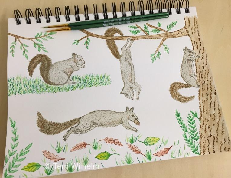 week 35 animal art squirrels