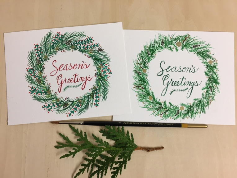 Christmas wreaths painting